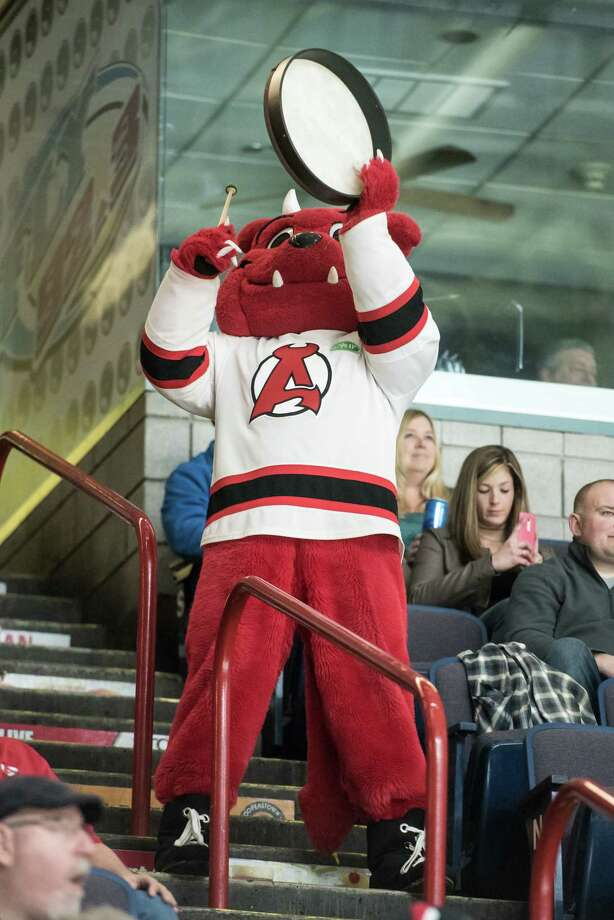 Devil Dawg tries to rally fans while the Albany Devils play against the Toronto Marlies at the Times Union Center in Albany, NY Saturday April 22nd, 2017. Photo By Eric Jenks Photo: Eric Jenks / Eric Jenks 2017