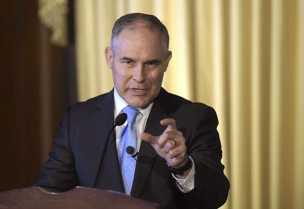 FILE - In this Feb. 21, 2017, file photo, Environmental Protection Agency (EPA) Administrator Scott Pruitt speaks to employees of the EPA in Washington. Dow Chemical is pushing the Trump administration to scrap the findings of federal scientists who point to a family of widely used pesticides as harmful to about 1,800 critically threatened or endangered species. Lawyers representing Dow and two other makers of organophosphates sent letters last week to the heads of three Cabinet agencies. The letters, obtained by The Associated Press, show the companies asked them �to set aside� the results of government studies. (AP Photo/Susan Walsh, File)