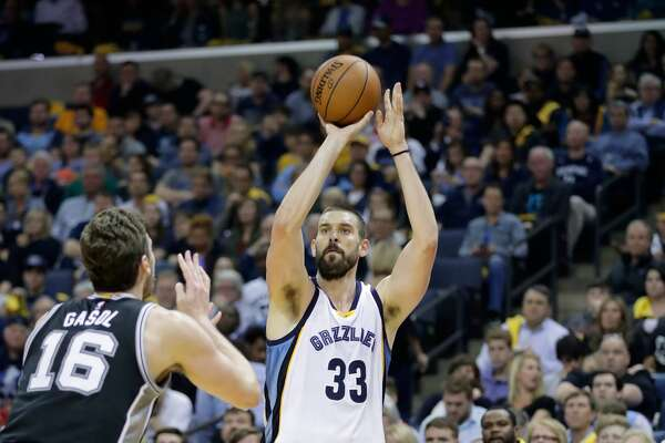 MEMPHIS, TN - APRIL 22: Marc Gasol  #33 of the Memphis Grizzlies shoots the ball against the San Antonio Spurs in game four of the Western Conference Quarterfinals during the 2017 NBA Playoffs at FedExForum on April 22, 2017 in Memphis, Tennessee.   NOTE TO USER: User expressly acknowledges and agrees that, by downloading and or using this photograph, User is consenting to the terms and conditions of the Getty Images License Agreement  (Photo by Andy Lyons/Getty Images)