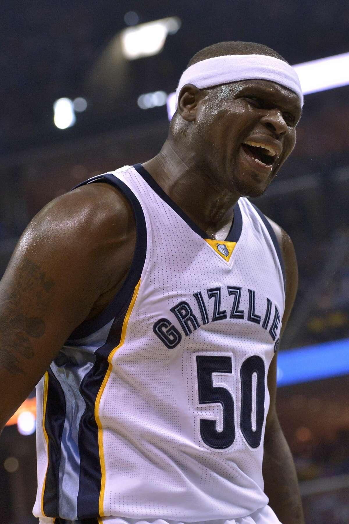 Memphis Grizzlies forward Zach Randolph (50) reacts during the first half of Game 4 in an NBA basketball first-round playoff series against the San Antonio Spurs, Saturday, April 22, 2017, in Memphis, Tenn. (AP Photo/Brandon Dill)