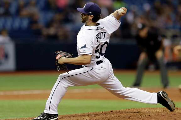 Tampa Bay Rays' Austin Pruitt pitches to the Detroit Tigers during the eighth inning of a baseball game Wednesday, April 19, 2017, in St. Petersburg, Fla. (AP Photo/Chris O'Meara)