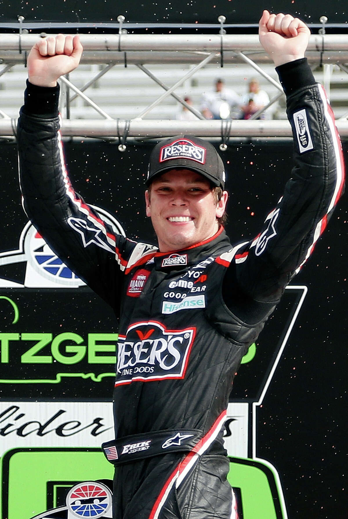 BRISTOL, TN - APRIL 22: Erik Jones, driver of the #20 Reser's American Classic Toyota, celebrates in Victory Lane after winning the NASCAR XFINITY Series Fitzgerald Glider Kits 300 at Bristol Motor Speedway on April 22, 2017 in Bristol, Tennessee. (Photo by Matt Sullivan/Getty Images)