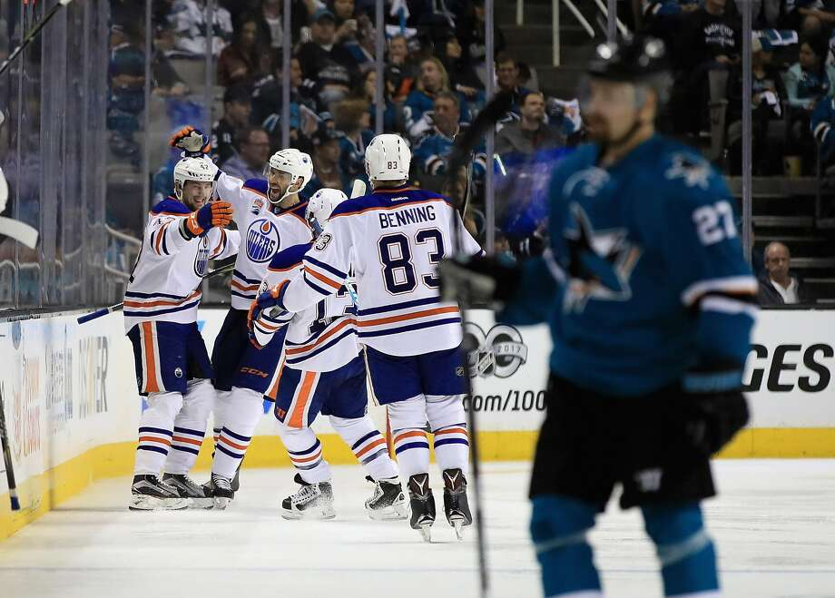 SAN JOSE, CA - APRIL 22:  Anton Slepyshev #42 of the Edmonton Oilers celebrates with teammates after he scored a goal in the second period against the San Jose Sharks in Game Six of the Western Conference First Round during the 2017 NHL Stanley Cup Playoffs at SAP Center on April 22, 2017 in San Jose, California.  (Photo by Ezra Shaw/Getty Images) Photo: Ezra Shaw, Getty Images
