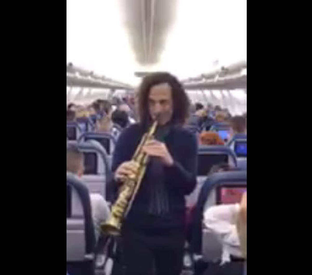In a spontaneous charity challenge, Saxophonist Kenny G offered to play for passengers on a Tampa-to-Los Angeles Delta Airlines flight on April 22, 2017. The passengers raised $2,000 for Relay for Life, so Kenny G wandered the aisle in an impromptu concert. Depending upon each passenger's attitude toward his music, this was either a high moment or sheer torture at 30,000 feet.
