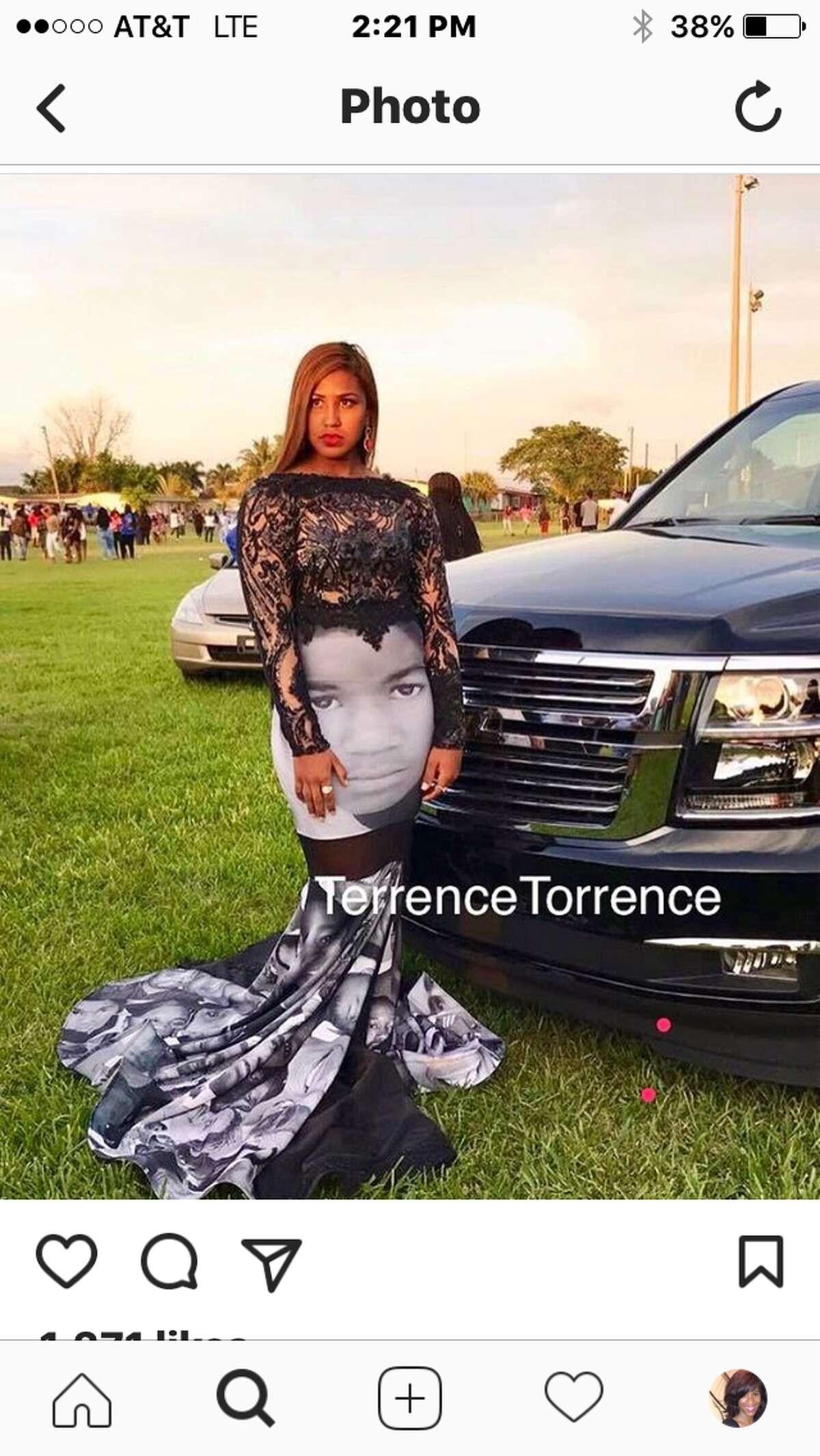 Seventeen-year-old Milan Morris in her prom dress.