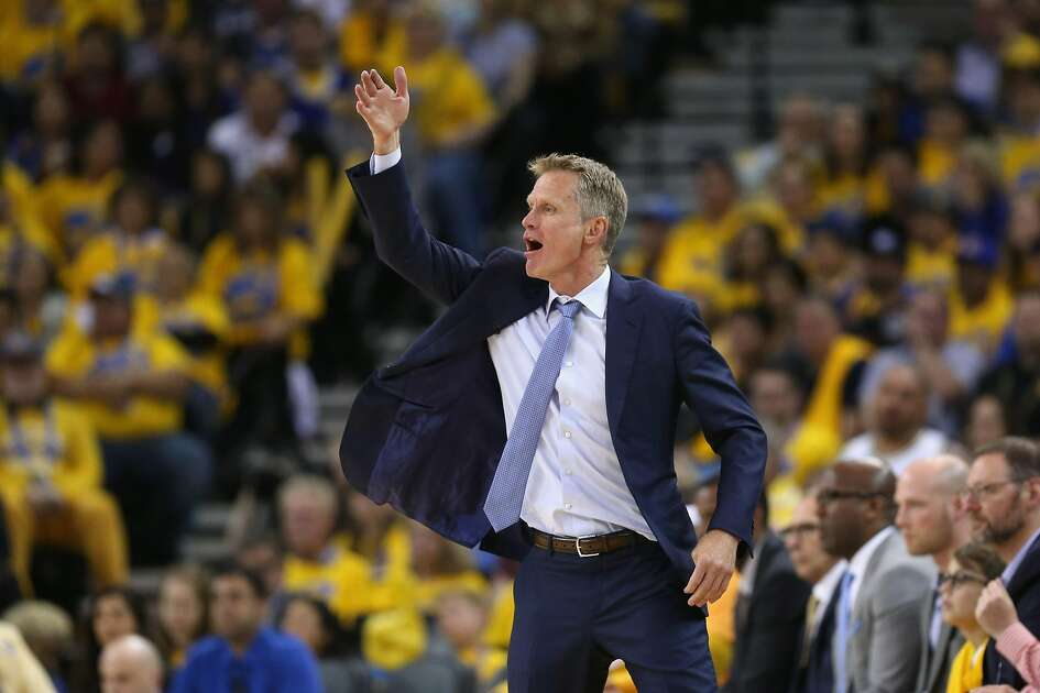 OAKLAND, CA - APRIL 19:  Head coach Steve Kerr of the Golden State Warriors shouts to his team during their game against the Portland Trail Blazers in Game Two of the Western Conference Quarterfinals during the 2017 NBA Playoffs at ORACLE Arena on April 19, 2017 in Oakland, California. NOTE TO USER: User expressly acknowledges and agrees that, by downloading and or using this photograph, User is consenting to the terms and conditions of the Getty Images License Agreement.  (Photo by Ezra Shaw/Getty Images)