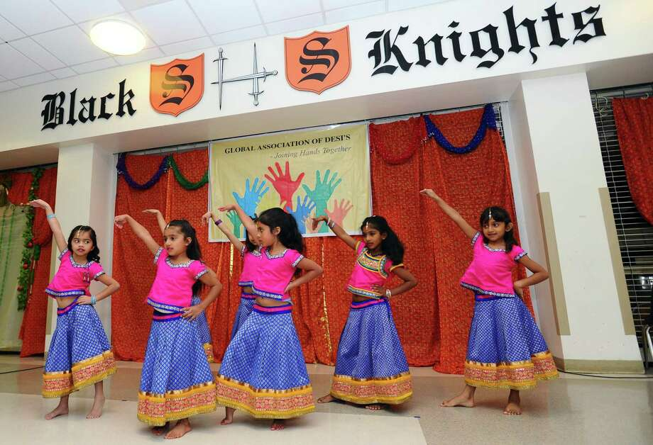 Students from the Mayura Dance Academy show off a traditional Indian dance during the 2017 Baisakhi Mela festival inside Stamford High School in Stamford, Conn. on Sunday, April 23, 2017. Photo: Michael Cummo / Hearst Connecticut Media / Stamford Advocate