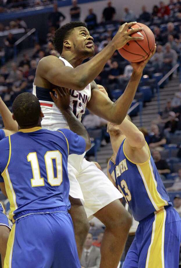 Former UConn center Steven Enoch is transferring to Louisville, according to multiple media reports. Photo: Stephen Dunn / Associated Press / FR171426 AP