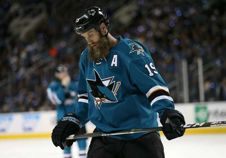 The San Jose Sharks' Joe Thornton (19) reacts as the Sharks fall behind 2-0 against the Edmonton Oilers in the second period of Game 6 of the NHL Western Conference quarterfinals at SAP Center in San Jose, Calif., on Saturday, April 22, 2017. The Oilers won, 3-1, to eliminate the Sharks. (Josie Lepe/Bay Area News Group/TNS)