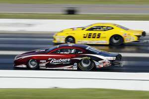 Pro Stock driver Bo Butner (red) defeats Jeg Coughlin (yellow) in the final race at the 30th annual NHRA Spring Nationals at the Royal Purple Raceway on Saturday, April 23, 2017 in Baytown, TX.