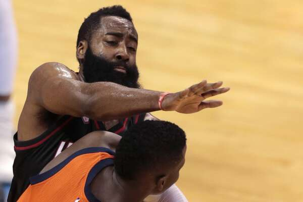 Houston Rockets guard James Harden (13) defends against Oklahoma City Thunder guard Victor Oladipo (5) during the third quarter of Game 4 of the NBA Western Conference first-round playoff series at Chesapeake Energy Arena on Sunday, April 23, 2017, in Oklahoma City. The Rockets beat the Thunder 113-109, to take a 3-1 lead in the best-of-seven series. ( Brett Coomer / Houston Chronicle )