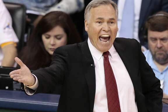 Houston Rockets head coach Mike D'Antoni yells from the sidelines during the fourth quarter of Game 4 of the NBA Western Conference first-round playoff series against the Oklahoma City Thunder at Chesapeake Energy Arena on Sunday, April 23, 2017, in Oklahoma City. The Rockets beat the Thunder 113-109, to take a 3-1 lead in the best-of-seven series. ( Brett Coomer / Houston Chronicle )