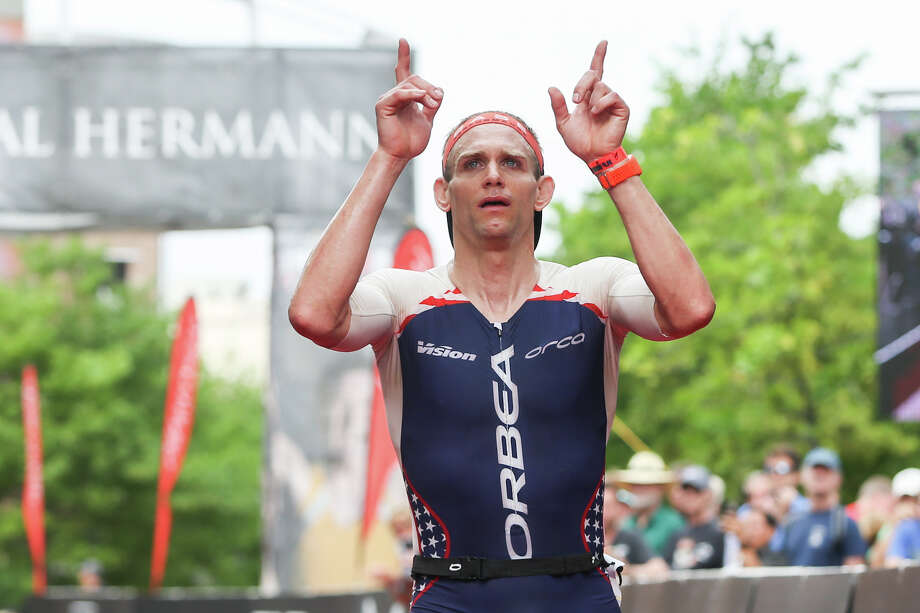 Andrew Starykowicz, of Illinois, reacts after finishing the Memorial Hermann IRONMAN North American Championship Texas on Saturday, April 22, 2017, in The Woodlands. Photo: Michael Minasi, Staff Photographer / © 2017 Houston Chronicle