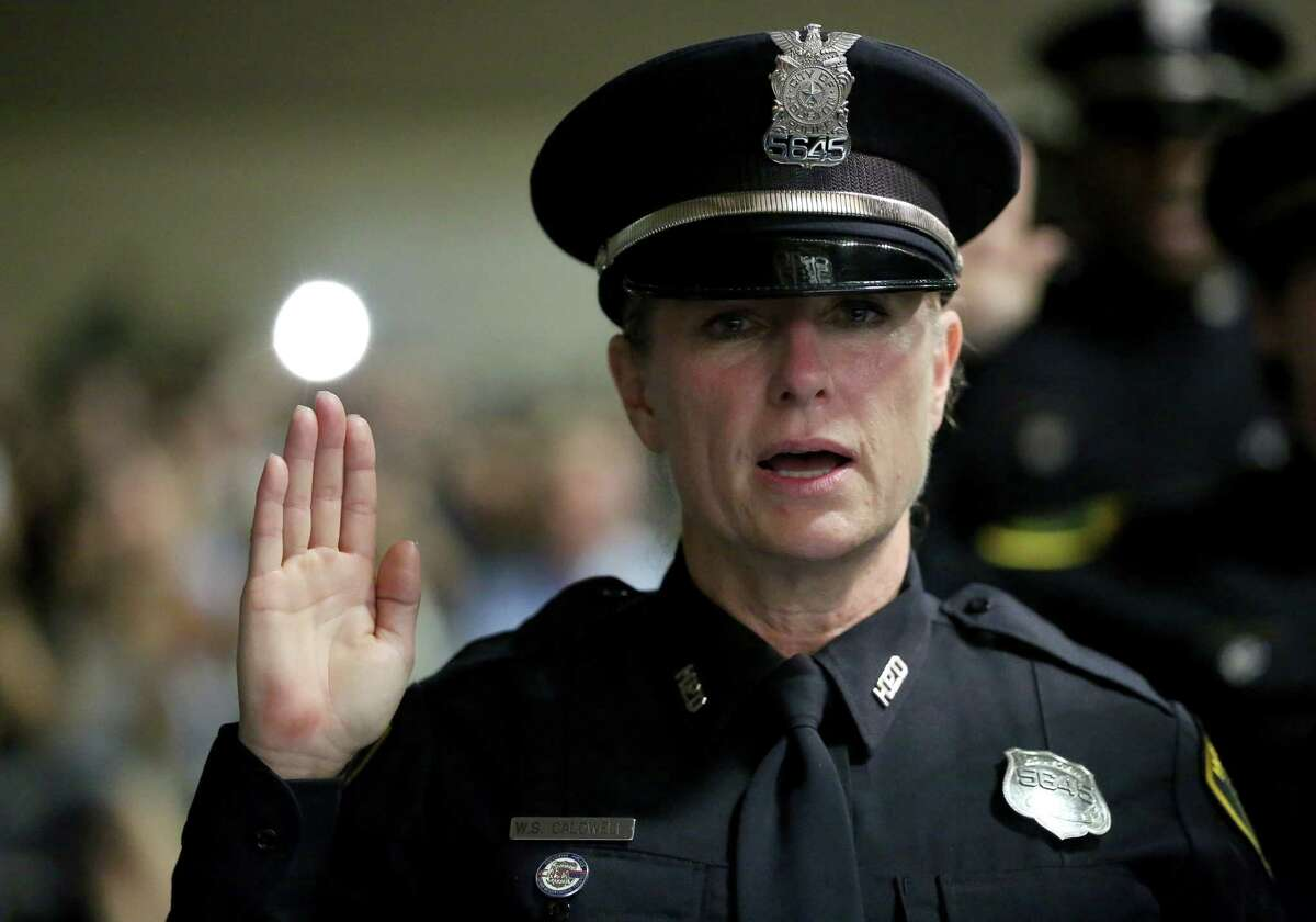 Houston Police Department Officer Wendy Caldwell  is sworn during Cadet Class #229 graduation ceremony last month.