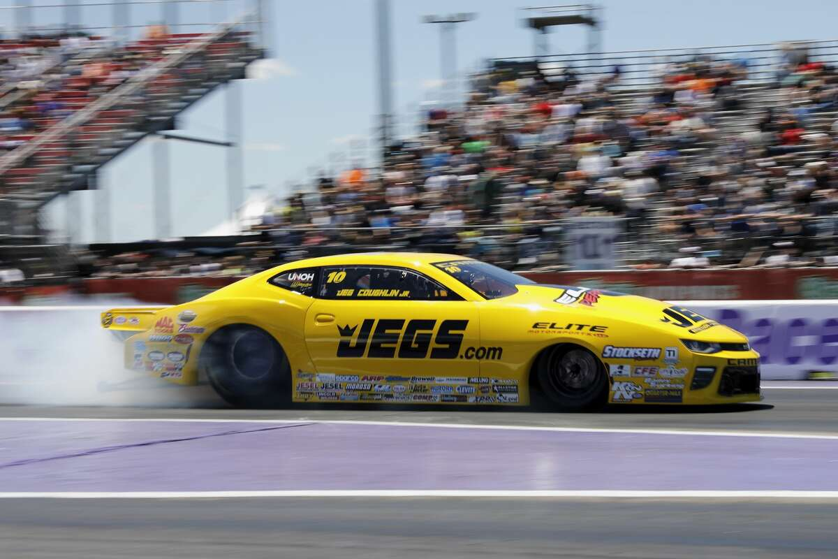 Pro Stock driver Jeg Coughlin performs a burnout before his quarterfinal race at the 30th annual NHRA Spring Nationals at the Royal Purple Raceway on Sunday, April 23, 2017 in Baytown, TX.
