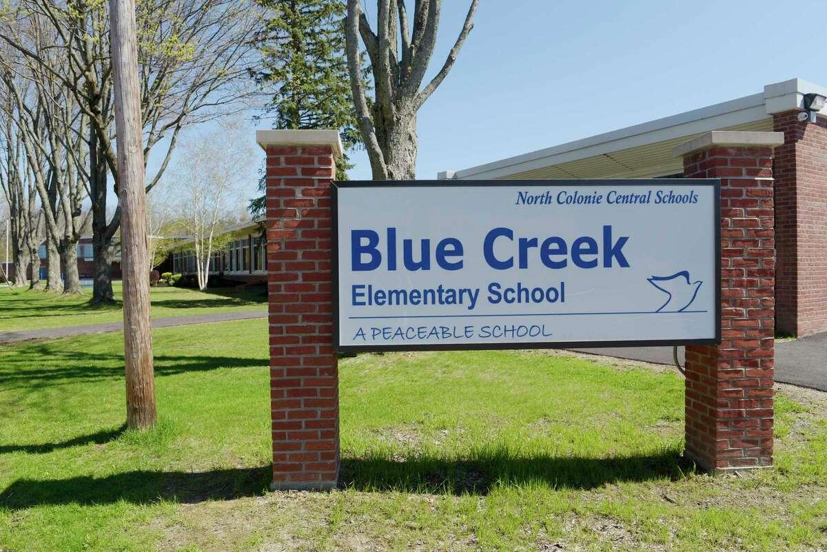 A view of Blue Creek Elementary School . The school had positive coronavirus cases tied to it. (Paul Buckowski / Times Union)