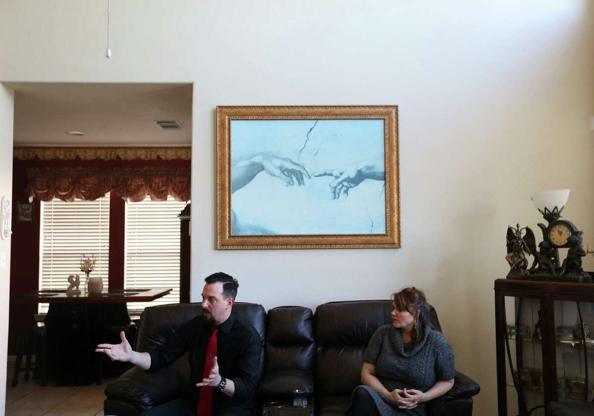 Michael W. Ford and his wife Hope in their home in Spring, Texas. (Annie Mulligan / Freelance)