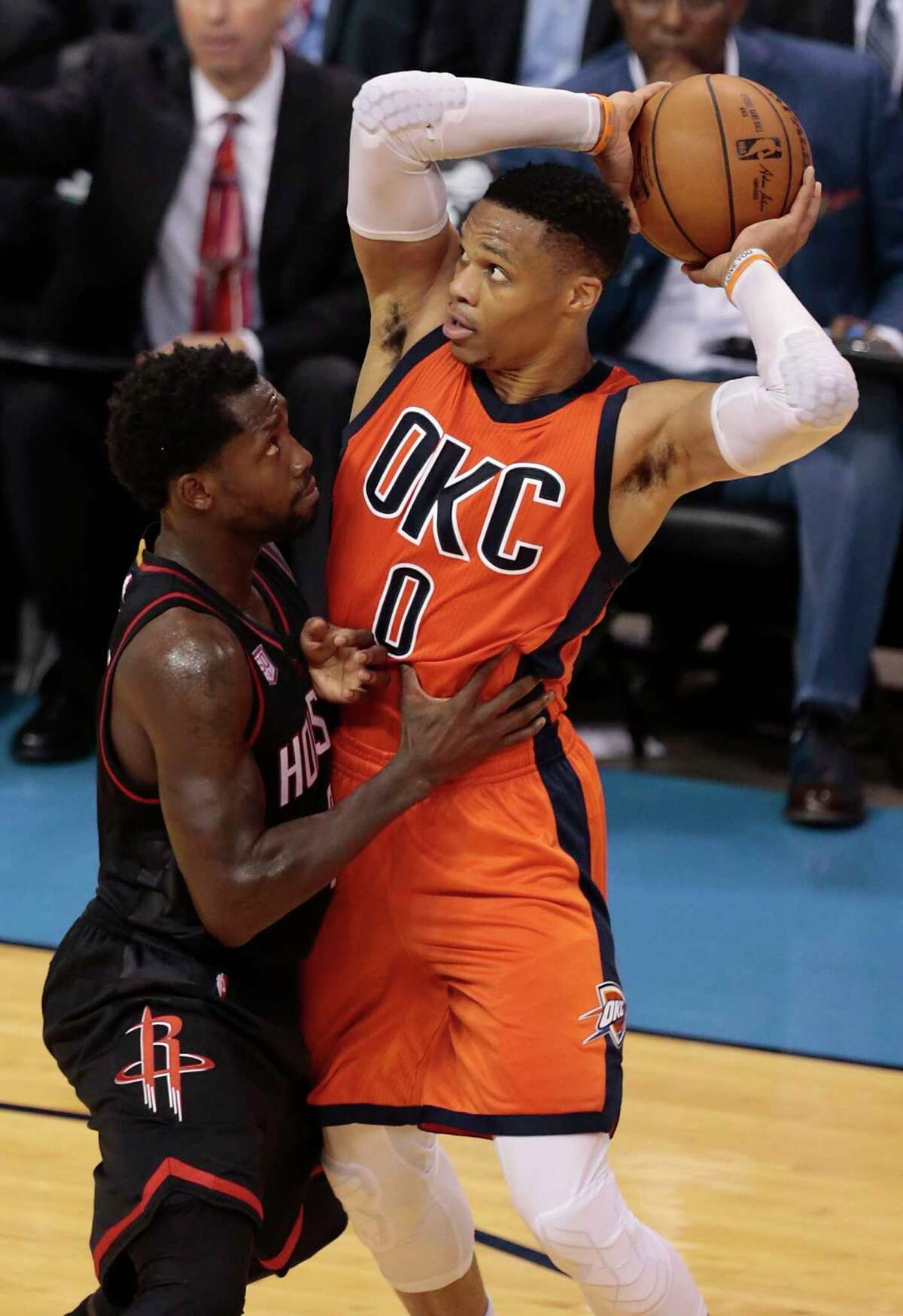 Houston Rockets guard Patrick Beverley (2) plays defense on Oklahoma City Thunder guard Russell Westbrook (0) during the fourth quarter of Game 4 of the NBA Western Conference first-round playoff series at Chesapeake Energy Arena on Sunday, April 23, 2017, in Oklahoma City. The Rockets beat the Thunder 113-109, to take a 3-1 lead in the best-of-seven series. ( Brett Coomer / Houston Chronicle )