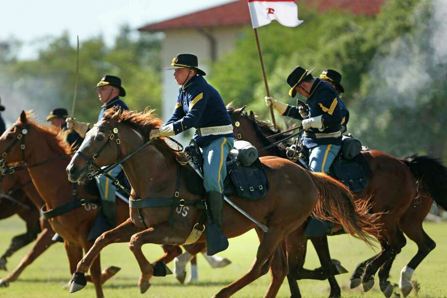 1st Calvary Division Horse Detachment conducted a calvary charge in honor of fiesta. Fort Sam Houston's Fiesta and Fireworks including the formal retreat ceremony, which is hosted by U.S. Army North and includes fiesta royalty and band performances on Sunday, April 23, 2017. Photo: Ronald Cortes / Freelance