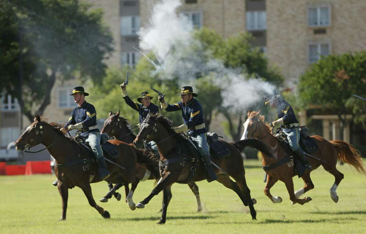 1st Calvary Division Horse Detachment conducted a calvary charge in honor of fiesta. Fort Sam Houston's Fiesta and Fireworks including the formal retreat ceremony, which is hosted by U.S. Army North and includes fiesta royalty and band performances on Sunday, April 23, 2017.
