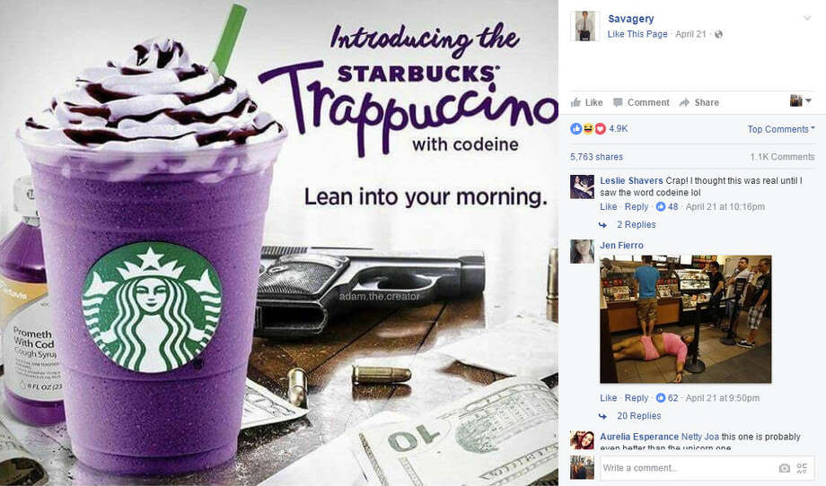 "The internet has made a special Houston version of the Unicorn Frappuccino. Introducing the ""Trappuccino with codeine."" Continue clicking to see hilarious memes mocking the original Unicorn Frap.Source: Facebook Photo: Facebook"