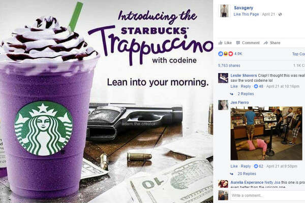 "The internet has made a special Houston version of the Unicorn Frappuccino. Introducing the ""Trappuccino with codeine."" Source:  Facebook"