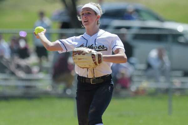 Lily Sencer of Cohoes throws to first after fielding a ground ball during the Ichabod Crane and Cohoes girls softball game on Monday, April 17, 2017, in Cohoes, N.Y.  (Paul Buckowski / Times Union)