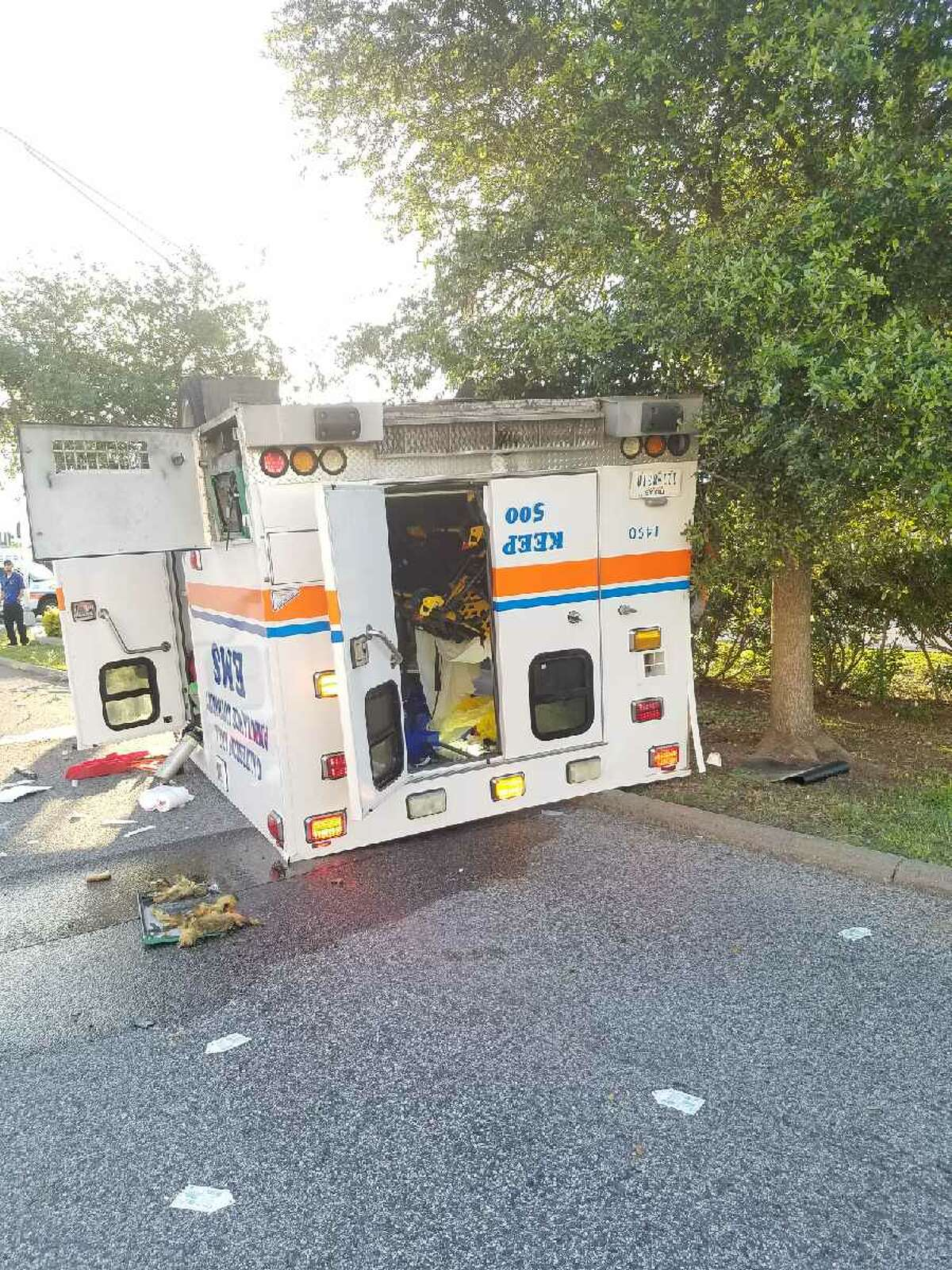 There were no serious injuries after an ambulance crash in Galveston.
