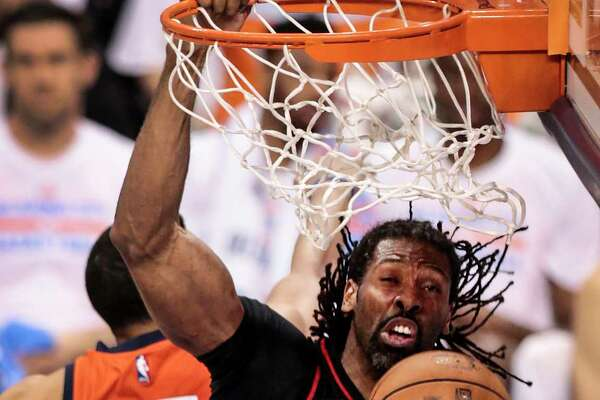 Rockets center Nene (42) sinks a high-percentage shot over Thunder center Steven Adams in the fourth quarter of the Rockets' 113-109 Game 4 victory at Oklahoma City on Sunday.