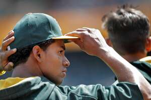 A's left fielder Khris Davis before the Oakland Athletics played the Seattle Mariners at Oakland Coliseum in Oakland, Calif., on Sunday, April 23, 2017.