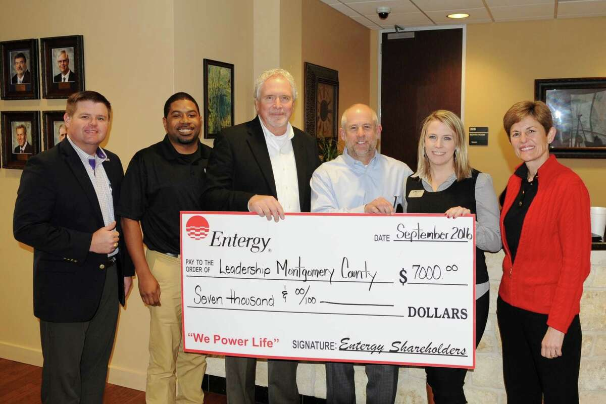 Entergy Texas recently presented Leadership Montgomery County (LMC) with a $7,000 grant. Through the grant, Entergy supports LMC's class kick-off retreat, Infrastructure Session, alumni event, and graduation celebration luncheon. Pictured from left to right are LMC Board Member and Infrastructure Session Director Erich Peterson of Jones|Carter, LMC Class of 2017 class member Rick Greene of Entergy Texas, Doug McCormick of Entergy Texas, Allen East of Entergy Texas, LMC Executive Director Sarah Rhea, and LMC Chairman of the Board Julie Ambler of The Woodlands Christian Academy. For more information about Leadership Montgomery County, please visit LMCTX.org.