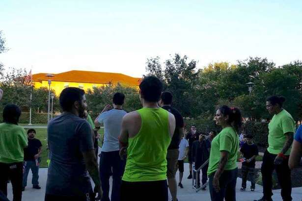 Players and zombies (in green shirts) prepare for the next round