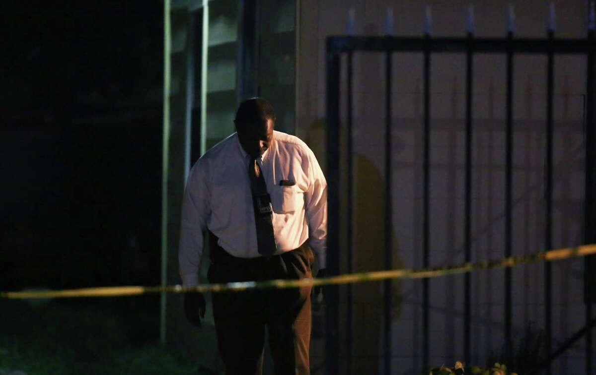 Authorities investigate the scene where a woman was found dead inside a home on the 6600 block of Sherwood Drive Monday, April 24, 2017, in Houston.