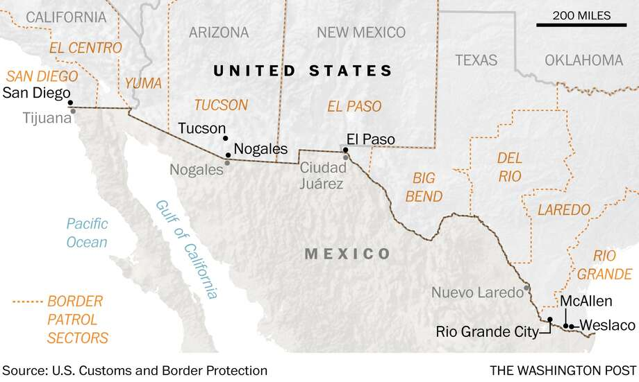 Trump Officials Pick High Priority Towns For Border Wall - Us border patrol 100 mile map