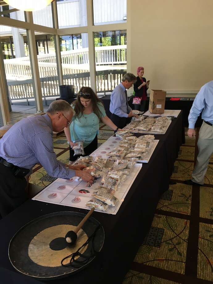 Members of The Woodlands Rotary Club gathered on March 30th to package meals for Stop Hunger Now to be sent to Nicaragua in May. 10,152 meals were packaged by members in one meeting! Photo: Submitted Photo