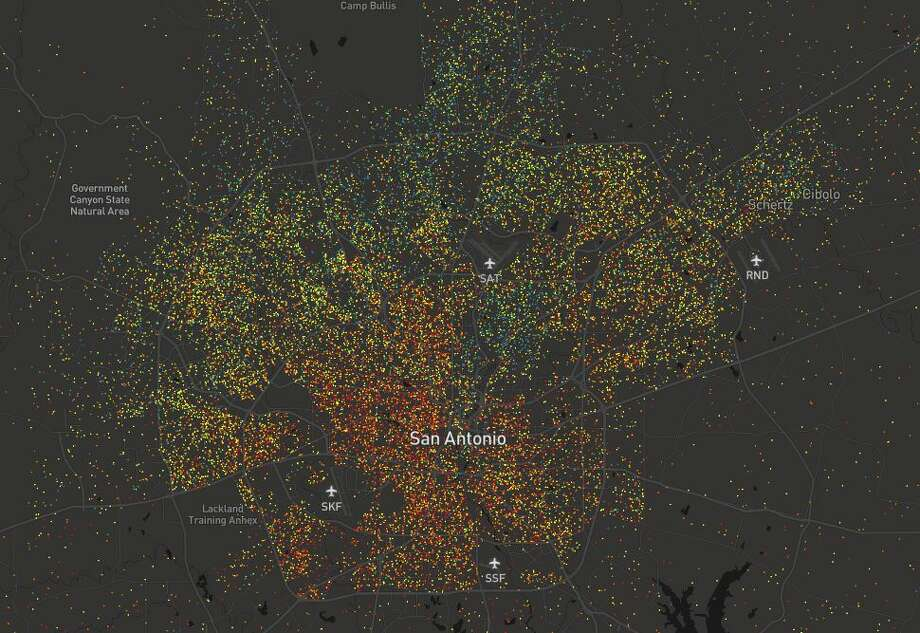 In San Antonio, green and blue clusters -- symbolizing graduate and bachelor'e degree attainment, respectfully -- line the North Side, specifically above Loop 410.Yellow dots mark some college, while orange dots symbolize high school education attainment and red dots mark less than high school education attainment. Photo: Kyle Walker