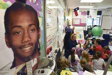 Blattman Elementary School fourth-grade teacher Erin Griffin conducts class by a cutout of the face of San Antonio Spurs basketball player Kawhi Leonard. Griffin is a fan of Spurs' small forward. She keeps a display of posters and figures featuring Leonard by the desk in her classroom. Griffin was an outstanding basketball player at St. Mary's University, where she averaged 15.6 points per game during her college career.
