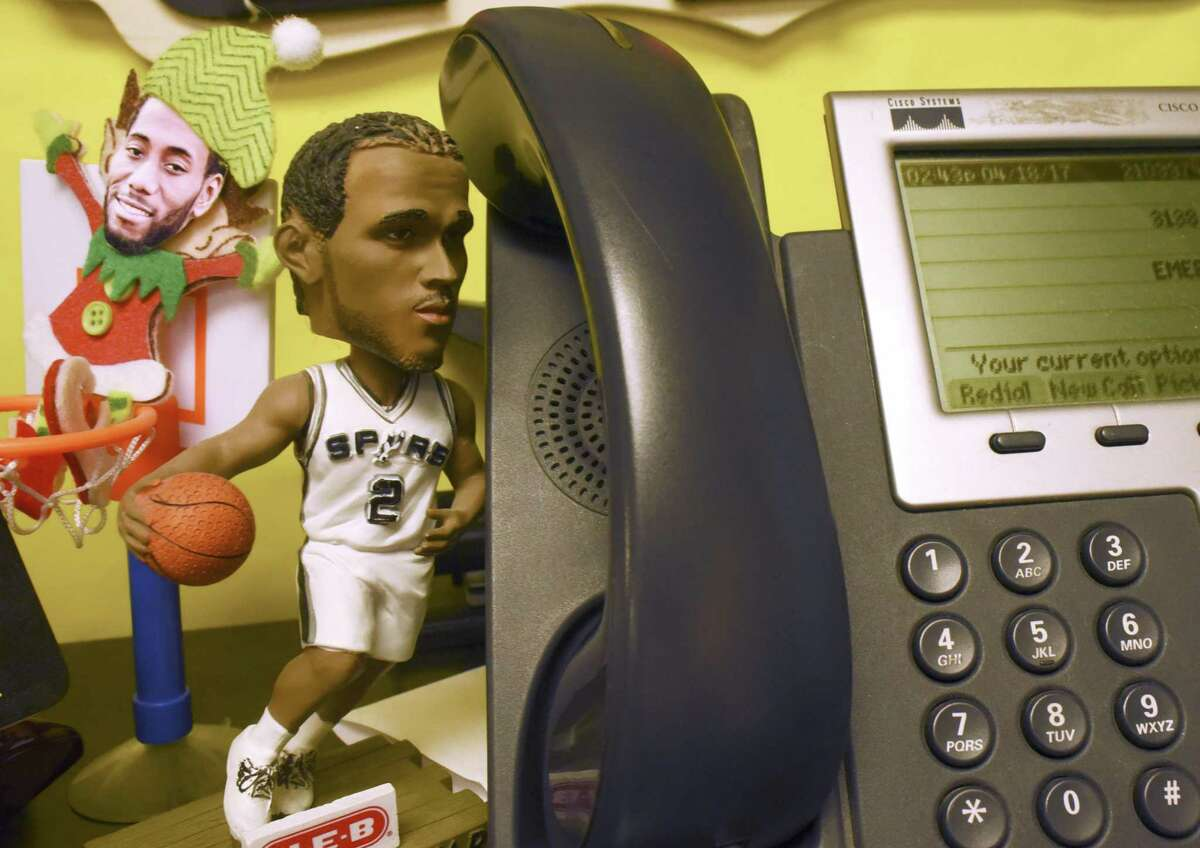 Blattman Elementary School fourth-grade teacher Erin Griffin is a fan of Kawhi Leonard of the San Antonio Spurs. She keeps a display featuring posters and figures by the desk in her classroom. Griffin was an outstanding basketball player at St. Mary's University, where she averaged 15.6 points per game during her college career.