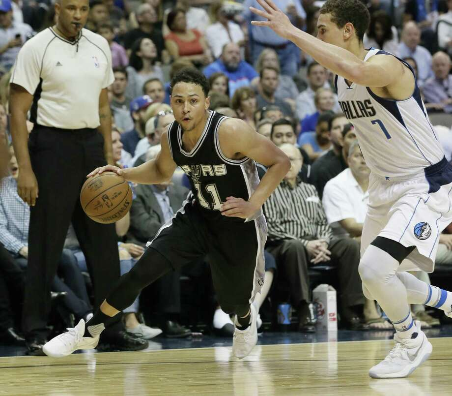 Spurs rookie guard Bryn Forbes works the perimeter against Dallas on April 7. Photo: LM Otero /Associated Press / Copyright 2017 The Associated Press. All rights reserved.