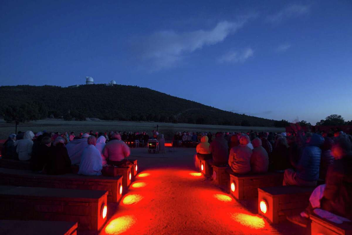 Hundreds of people gather at the McDonald Observatory near Fort Davis, Texas, for a star party on March 28.