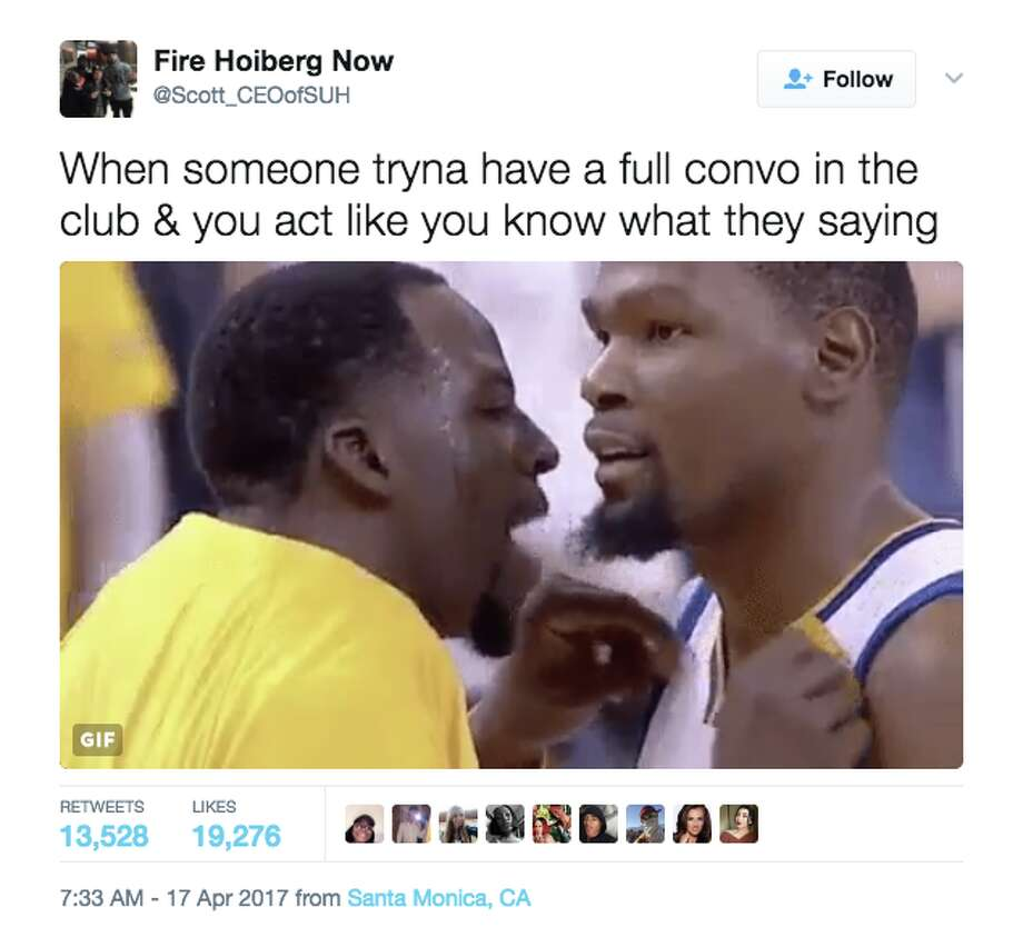 Kevin Durant loves the new meme of him and Draymond Green.Click ahead to see some local spots where the Warriors love to hang out off the court. Photo: Screenshot Via Twitter
