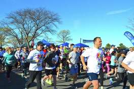 Some of the 1,000 or so runners who took part at the 39th annual Minute Man Race, held at Compo Beach, Sunday, April 23, 2017, in Westport, Conn.