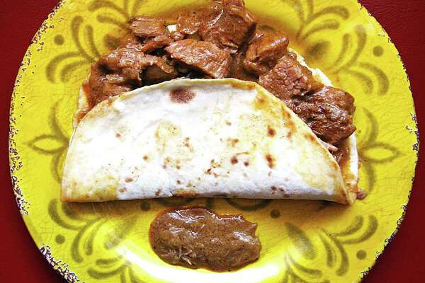 Carne guisada taco on a handmade flour tortilla from Norma's Place.