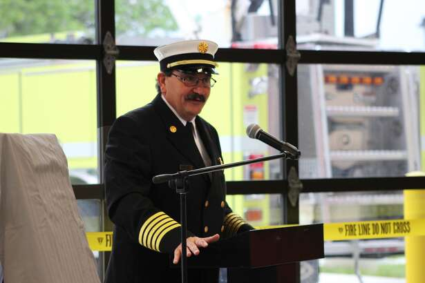 Edwardsville Fire Chief Rick Welle speaks Saturday during the open house at the city's new fire station on the SIUE campus.