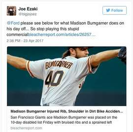 "Ford ran its ""What Madison Bumgarner does on his day off"" commercial right after the Giants' star pitcher seriously hurt himself dirt biking on his day off. Here's what Giants fans had to say about the timing."