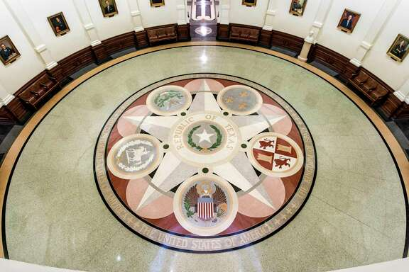 Interior of the Capitol in Austin shows the six nations (six flags) that governed Texas.