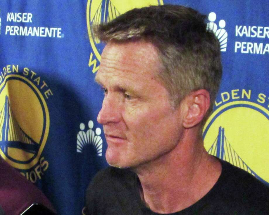 Golden State Warriors coach Steve Kerr speaks to members of the media in Portland, Ore., Sunday, April 23, 2017. Kerr announced he won't be on the sidelines for the NBA basketball team's Game 4 playoff game against the Portland Trail Blazers on Monday night. (AP Photo/Anne Peterson) Photo: Anne Peterson, Associated Press / Copyright 2017 The Associated Press. All rights reserved. This material may not be published, broadcast, rewritten or redistribu