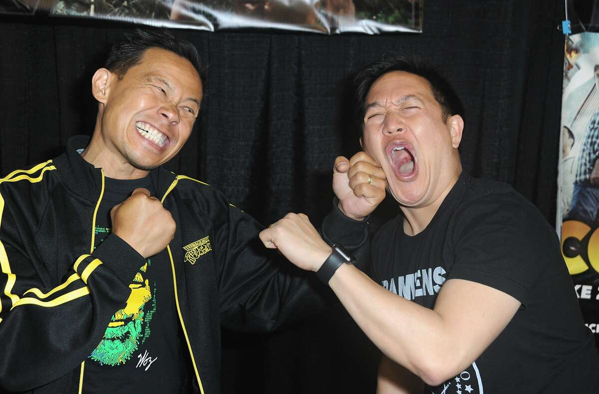 SAN JOSE, CA - APRIL 22: Actor Ernie Reyes Jr. and TV Personality Ming Chen spare on day 3 of Silicon Valley Comic Con 2017 held at San Jose Convention Center on April 22, 2017 in San Jose, California.