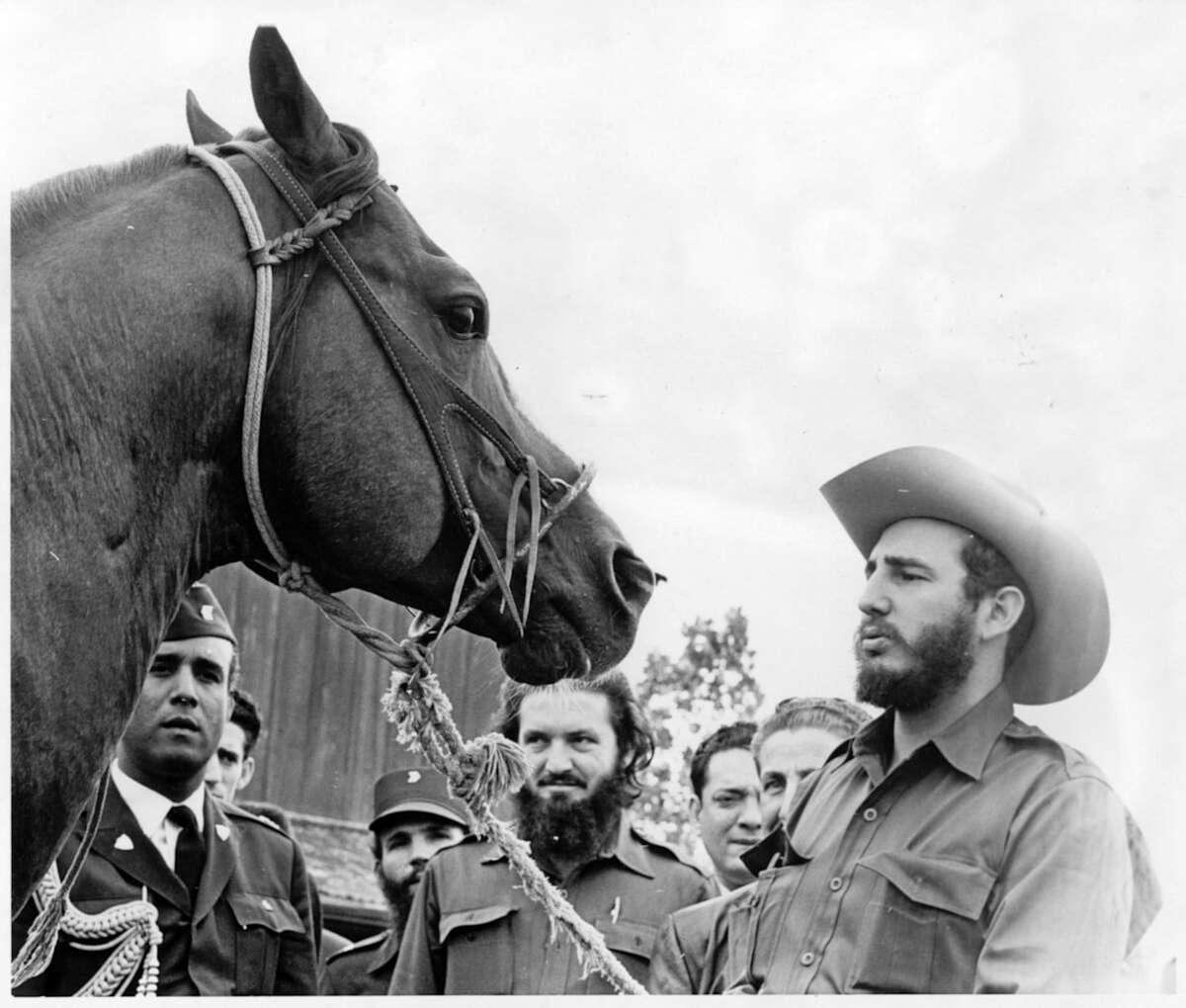 Fidel Castro at John R. Ferguson's Bar JF Ranch near Wharton on April 28, 1959. The horse's name is King Champ.