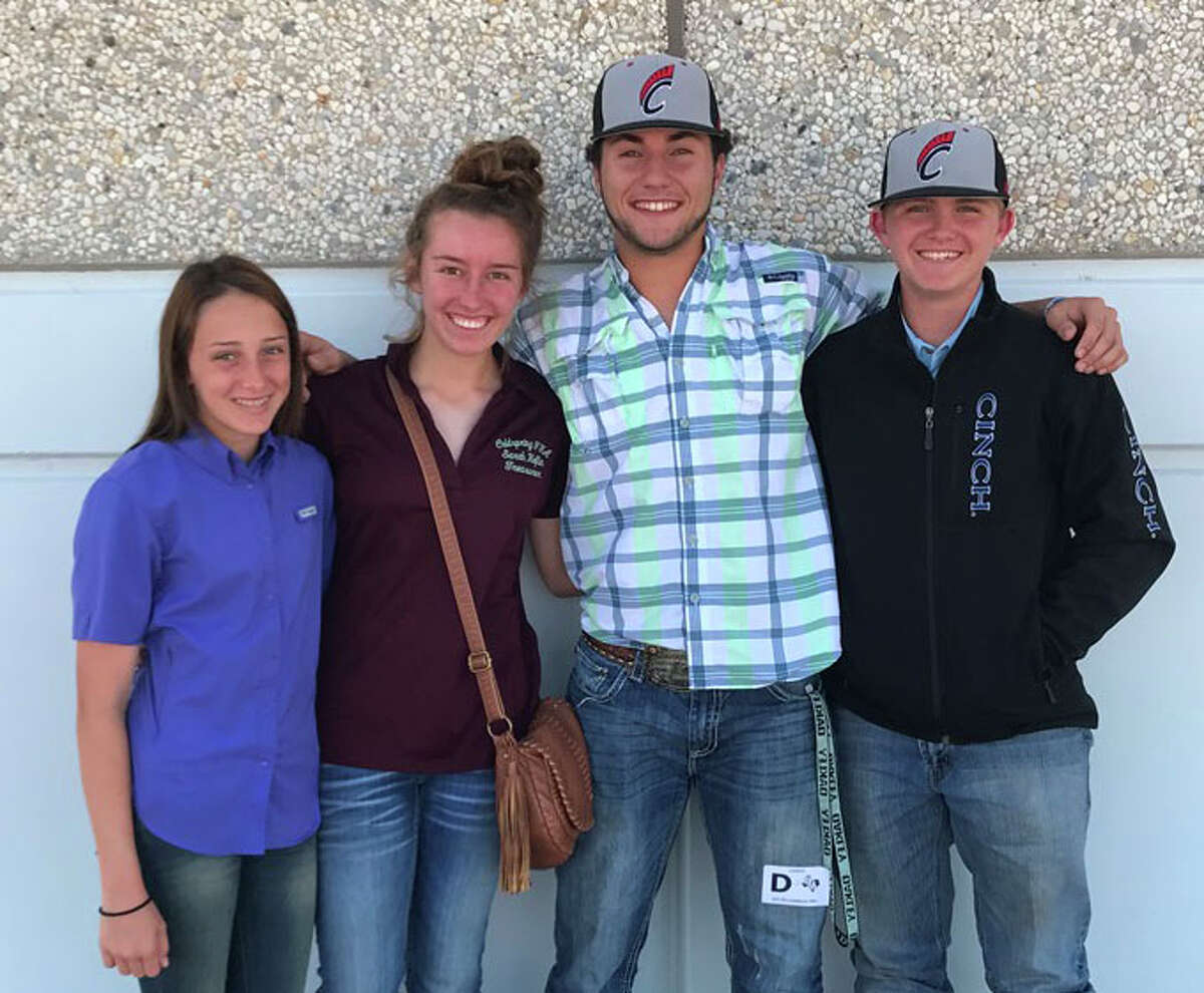 The Coldspring FFA Livestock Judging Team competed on April 4 at an invitational career development contest held at Stephen F. Austin University, and placed 11th out of 82 teams. Pictured from left to right are Rylee Rudloff, Sarah Heflin, Tanner Coulliette and Bret Carter.